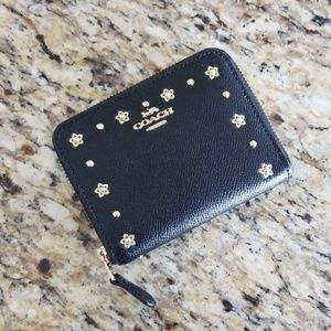 EUC Coach Small Studded Zip Around Wallet